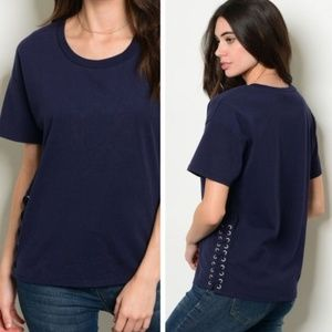 Navy lace-up top